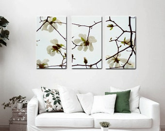 3 piece wall art, 3 panel wall art, white flower magnolia canvas art, aqua brown floral canvas split, extra large wall art oversized artwork