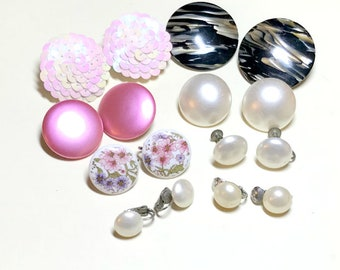 Eight pairs of vintage button earrings, mixed pink, faux pearl, gray earrings, clip vintage earring lot, vintage jewelry lot 1950s-60s E80