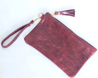 Leather Wristlet with Tassel & Zipper - Red Leather Bag - Clutch - Leather Purse - Small Coin Purse