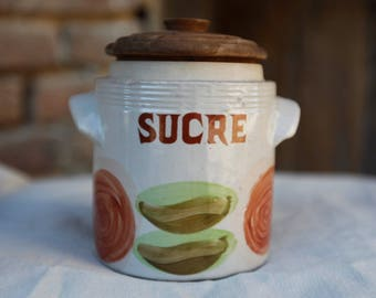 Sugar jar in stoneware - Made in France.