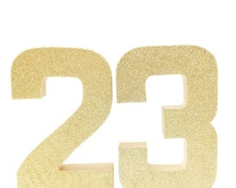 Ready to ship! Gold Glitter Number 2 3 8 - First Second Eighth Birthday - Party Decor - Princess Party - Golden Birthday Decor
