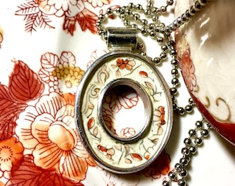 Orange Marmalade - SHIPS FREE to Continental United States - Broken China Pendant - Hand-Painted China set into an Open Oval Bezel