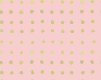 SALE Organic cotton fabric. Monaluna Haiku 2 Spots Pink and gold shimmer metallic pink peach