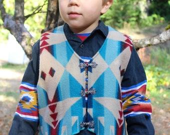 Children's Pendleton wool Vest with celtic clasps Sz 6-8