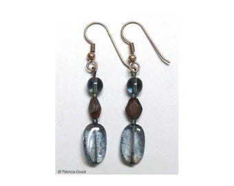 EA3 - Earrings, Czech glass beads and sterling wires - one of a kind