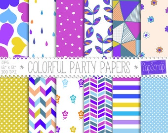 """Colorful digital paper : """"Colorful Party Papers vol 2"""" colorful party paper for scrapbooking, cards, invites, digital scrapbook paper"""