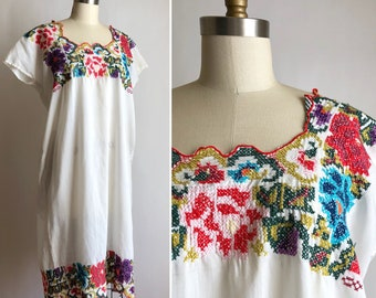 70s embroidered dress OS ~ vintage summer dress midi dress
