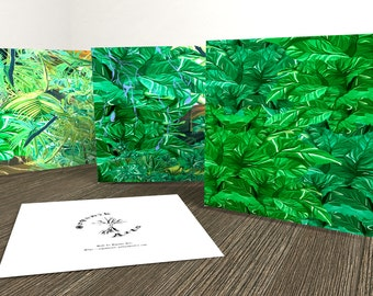 Botanical art cards in packs of six