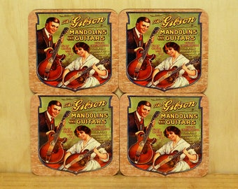 Set of 4 coasters - 95mm Square MDF - Gibson guitars and mandolins
