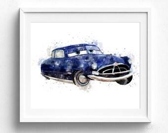 Doc Hudson, Disney Cars, Nursery Wall Art, Disney Pixar Cars, Nursery Decor, Disney Cars Art, Disney Print, Disney Watercolor, Kids Art