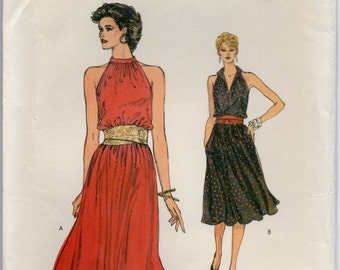 Dress With Blouson Bodice Flared Skirt Cutaway Armholes Elastic Waistline Side Pockets Size 6 8 10 Sewing Pattern Very Easy Vogue 8322