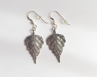 Beautiful Leaf Dangle Earrings, Leaf Earrings, Boho Earrings, Valentine's Day Gift, Birthday Gift, Sterling Silver Earrings, Silver Earrings