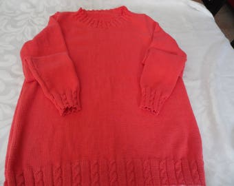 Sweater 100% cotton coral size 40