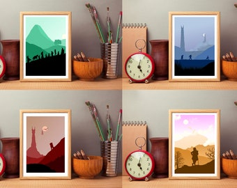 Lord Of The Rings & The Hobbit Inspired Art Prints, Set Of 4, The Fellowship Of The Ring, The Two Towers, The Return Of The King,LOTR Art
