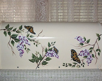 Hand Painted Mailbox with Butterflies and Wisteria on White b/g