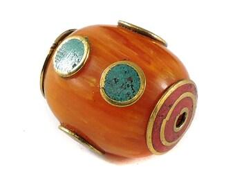 Tibetan Bead Fancy Amber Color Loose 118738