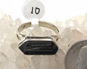 Rough Black Tourmaline Ring, Size 10