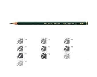 Faber Castell Graphite Pencil 9000 Black Lead | Art Draw Write | Pack of 12 Pencils