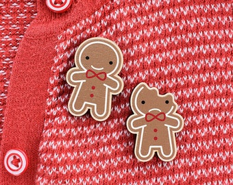 Gingerbread Man Wooden Brooches - printed in full colour - Kawaii Christmas Cookies