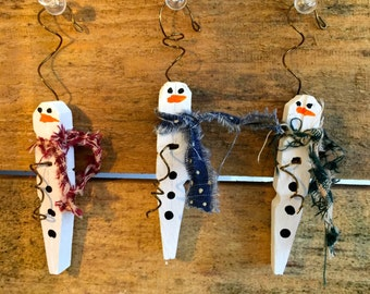 Hand-Painted Wooden Clothespin Snowmen Ornaments