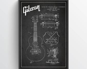 1969 Gibson Guitar Patent Poster, Patent Art Print, Patent Print, Blueprint, Wall Art, Home Decor, Gift Idea, MUIN29P