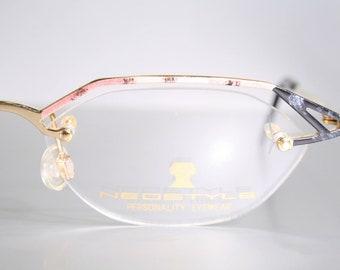 Eccentric NEOSTYLE 'CITYsmart' Unworn Vintage Slim Light Angular Half Frame Eyeglass Semi Rimless Frames Readers Pink Brow Silver Black 90's