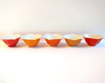 Vintage Orange Lotus Bowls Set of 5