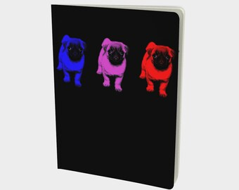Pop Art Pug Large Notebook plain, ruled, dotted, graph