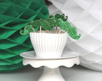 10 decorations for Cupcakes (cupcake toppers) - green glitter mustaches