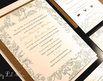 Paisley Floral Flower Leaves Flourish Damask Frame Custom Unique Wedding Invitation Classic Vintage Spring Summer Fall Kraft Outdoor Garden