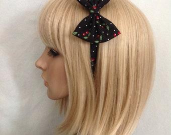 Cherry print headband hair bow rockabilly psychobilly black red gothic Lolita cute pin up girl vintage retro cute pretty punk ladies