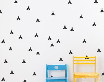 A wall with teepees / Tee Pee Wall Decal / Mini Tee Pee Sticker / Indian Tepee Wall Decals / Kids room / Nursery decal / removable