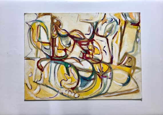 Warm Abstract Painting on Board