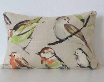 Birdwatcher Linen autumn colors brown green decorative pillow cover