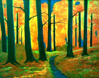 Fall landscape painting, forest path, Virginia Autumn, autumn colors, woodland trail, forest fire colors,Blue Ridge Mountains,Flame Bilyue