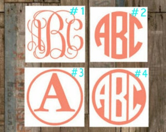 Monogram Vinyl Decal 4 6 8 or 10 inch any color choose style