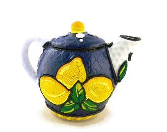 Italian style lemon teapot polymer clay over ceramic