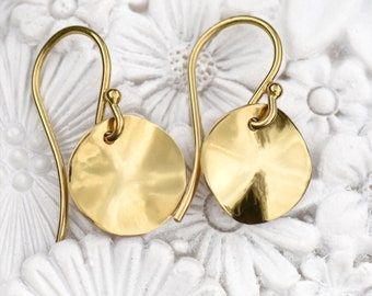 18k Gold Hammered Disc Earrings, Eco Friendly