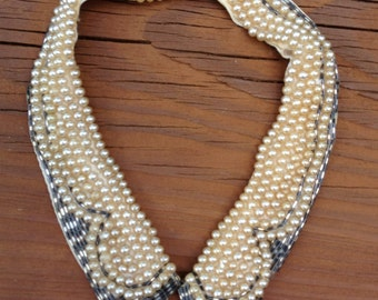 Vintage 1950s Faux Pearl Collar with Glass Beads