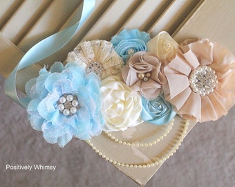 Baby Blue Maternity Sash, Gender Reveal Maternity Sash, Boy Maternity Sash, Baby Shower Sash, Boy Shower, Baby Blue, Cream, Ivory, Nude, Tan
