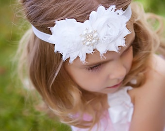 White Headband Pearl Rhinestone -  Flower Girl - Newborn Infant Baby Toddler Girls Adult Wedding
