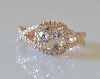 Handmade Round 2 ct peach champagne rose gold engagement ring | certified | Gemological report