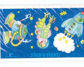 Vtg 80's Hallmark Stick-r-Treats Space Aliens Sticker NIP