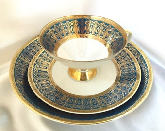 Vintage midcentury W Bavaria Ornament tea cup trio