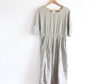 Pretty Beige Minimal Gauze Summer Dress