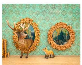 35% OFF SALE Deer and fox art surreal woodland animal art: Pop Art