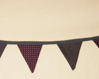 Decorative Garland of flags in purple fabric with diamonds, dark blue (No. 31)