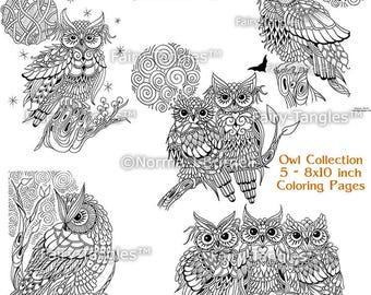 Owl Coloring Page Collection - 5 Printable Owl Coloring Sheets Owls Digi Coloring Pages Zentangle Owls Norma Burnell Adult Coloring Sheets