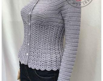Kamila Fitted Cardigan  - Size S, M, L, XL, 2XL, 3XL - Crochet PDF Pattern