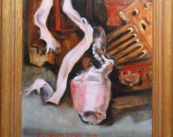 vintage oil painting pink ballet slipper signed